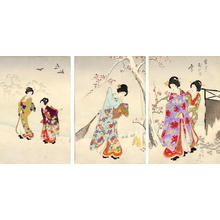 Toyohara Chikanobu: Five Bijin in a garden - Japanese Art Open Database