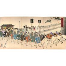 豊原周延: The daimyo and escorts assemble to hear speech of Prince - Japanese Art Open Database