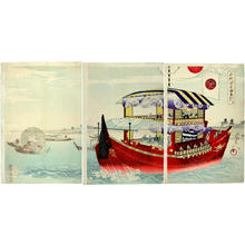 Toyohara Chikanobu: Tour by boat- Okawa-river — 大川筋 御成 - Japanese Art Open Database