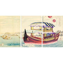 豊原周延: Tour by boat- Okawa-river — 大川筋 御成 - Japanese Art Open Database