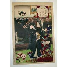 Toyohara Chikanobu: Hizen Province - Saga flowers and mysterious cat of the inner garden - Japanese Art Open Database