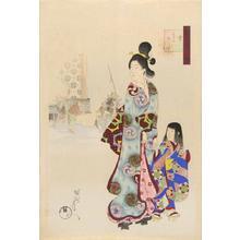 Toyohara Chikanobu: Snow- A beauty and child - Japanese Art Open Database