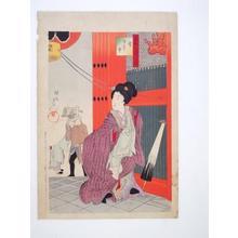 豊原周延: Snow- bijin entering temple — 浅草市 - Japanese Art Open Database