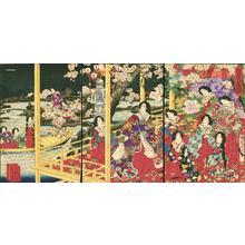 Toyohara Chikanobu: Party beside garden in spring - Japanese Art Open Database