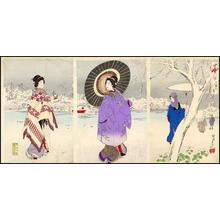 豊原周延: Unknown- bijin snow umbrella pond - Japanese Art Open Database