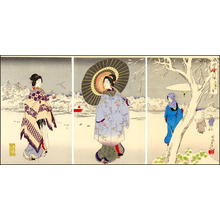 Toyohara Chikanobu: Unknown- bijin snow umbrella pond - Japanese Art Open Database