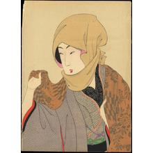 豊原周延: Bijin wearing a scarf — お高祖頭布をかぶる婦人 - Japanese Art Open Database