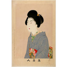 豊原周延: Unknown, beauty in blue kimono - Japanese Art Open Database
