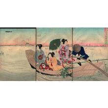 豊原周延: View of Fuji from Sumida River - Japanese Art Open Database