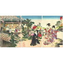 豊原周延: Elegant Gathering in the Western Garden — 西園雅集- せいえんがしゅう - Japanese Art Open Database
