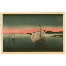 Tomioka Eisen: Anchored Sailboat- V1 - Japanese Art Open Database