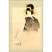 富岡英泉: Bijin Ghost and Skull - Japanese Art Open Database