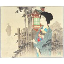 Tomioka Eisen: Bijin at gardens gate - Japanese Art Open Database