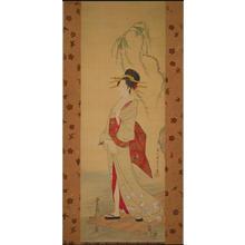 細田栄之: Woman Waiting for a Ferry (Painting on Silk) — 舟待つ女 - Japanese Art Open Database