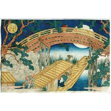 Yashima Gakutei: Moonl Lit View of Suenhiro Bridge - Tempozan Suehiro Bashi - Tsukiyo no Zu - Japanese Art Open Database