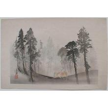 Ogata Gekko: Two riders on horseback in the mountains with Fuji in the mist - Japanese Art Open Database