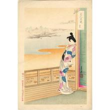 尾形月耕: elegant Japanese Lady in her Kimono, gazing out of her balcony - Japanese Art Open Database