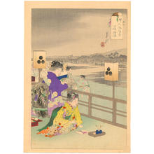 尾形月耕: Two women on a balcony overlooking the Kamo River at Shijo in Kyoto - Japanese Art Open Database