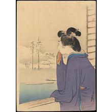 尾形月耕: Bijin and Winter Landscape - Japanese Art Open Database