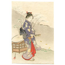 尾形月耕: Girl and Fan - Japanese Art Open Database