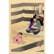 Ogata Gekko: Lord Kusunoki bidding farewell to his son before the battle - Japanese Art Open Database