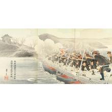 Getsuzo: Crossing a river — 我軍渡鴨緑江上架橋撃追敵兵 竟占領九連城 - Japanese Art Open Database