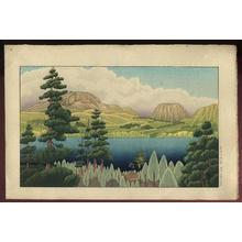 Gihachiro Okuyama: Mountain lake, Hakone Ashinoko no Shinryoku - Japanese Art Open Database