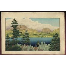 Gihachiro Okuyama: Mountain lake, Hakone Ashinoko no Shinryoku - Japanese Art Open Database