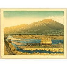 Gihachiro Okuyama: Mt Asama from the River Chikuma - Japanese Art Open Database