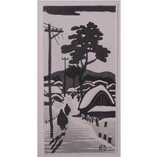 Gihachiro Okuyama: Unknown, snowy street - Japanese Art Open Database