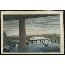Gihachiro Okuyama: View of under the Ichikawa bridge from Edogawa — 江戸川堤から市川橋下を見る - Japanese Art Open Database