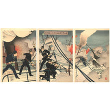 安達吟光: Kabayama, head of the naval commanding staff, attacks the enemy ship on board the Seikyu-Maru - Japanese Art Open Database