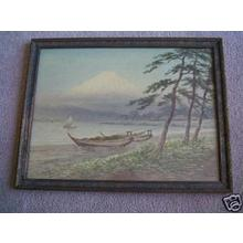 Kawakami Sumio: Boats on shore near Fuji - Japanese Art Open Database