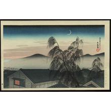 Hashiguchi Goyo: Evening Moon at Kobe - Japanese Art Open Database
