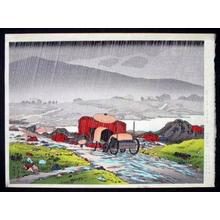 Hashiguchi Goyo: Rain at Yabakei - Japanese Art Open Database