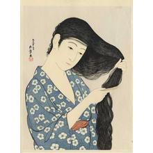 Hashiguchi Goyo: Woman Combing her Hair — 髪すける女 - Japanese Art Open Database