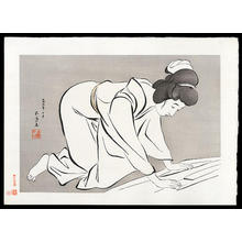 橋口五葉: Woman Folding Kimono - Japanese Art Open Database