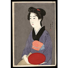 橋口五葉: Woman Holding a Tray - Bon Moteru Onna - Japanese Art Open Database
