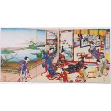 河鍋暁翠: Poetry Contest- Ladies in the formal poetry-composing event - Japanese Art Open Database