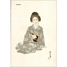 石井柏亭: Bijin sitting - Japanese Art Open Database