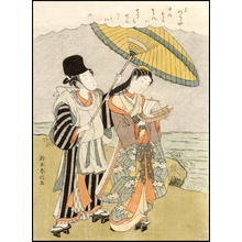 Suzuki Harunobu: A bijin with her young man protecting her from a shower of rain - Japanese Art Open Database