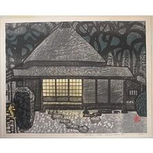 橋本興家: Unknown, house at night - Japanese Art Open Database