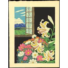 Hayashi Waichi: Golden-Rayed Lily and Cosmos — やまゆりとコスモス - Japanese Art Open Database