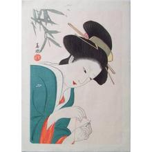 Hirezaki Eiho: Bijin Sewing - Japanese Art Open Database