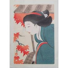 Hirezaki Eiho: Bijin and Autumn Leaves - Japanese Art Open Database