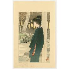 Hirezaki Eiho: Bijin by Garden - Japanese Art Open Database
