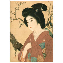 Hirezaki Eiho: Lithograph- Bijin and plum tree - Japanese Art Open Database
