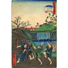歌川広景: Lord Kusunoki bidding farewell to his son before the battle - Japanese Art Open Database