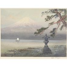 Yoshida Hiroshi: Mount Fuji and a temple lantern - Japanese Art Open Database