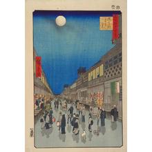 Utagawa Hiroshige: Night View of Saruwaka Street — 猿わか町よるの景 - Japanese Art Open Database